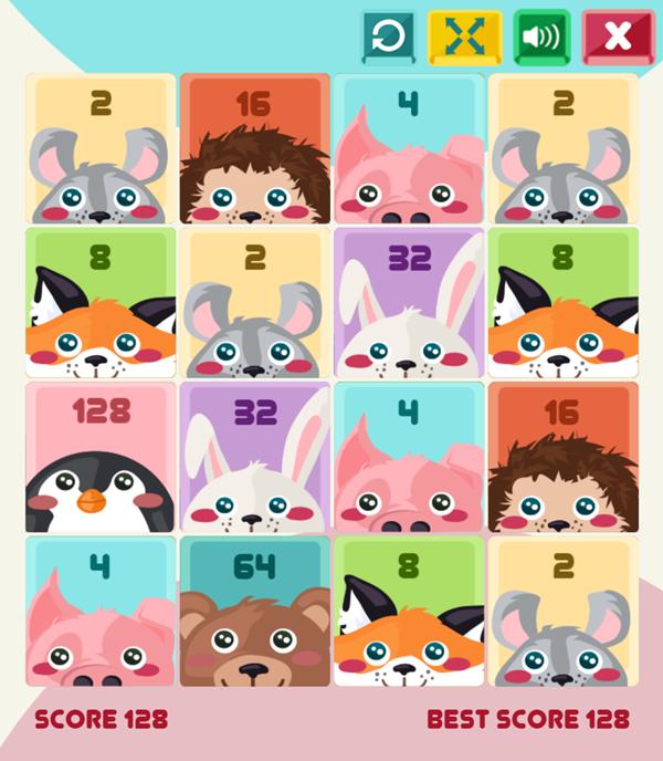 2048 Cuteness Edition Game Screenshot.