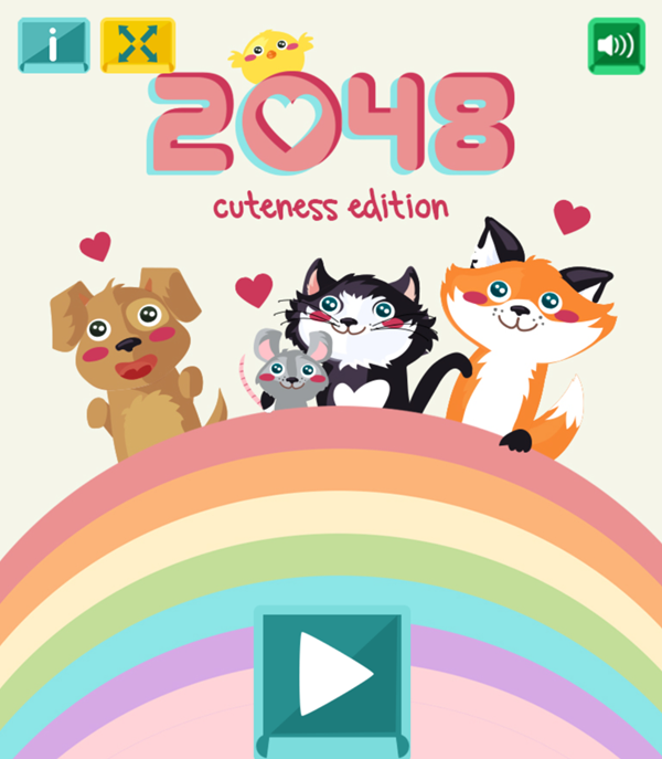 2048 Cuteness Edition Game Welcome Screen Screenshot.