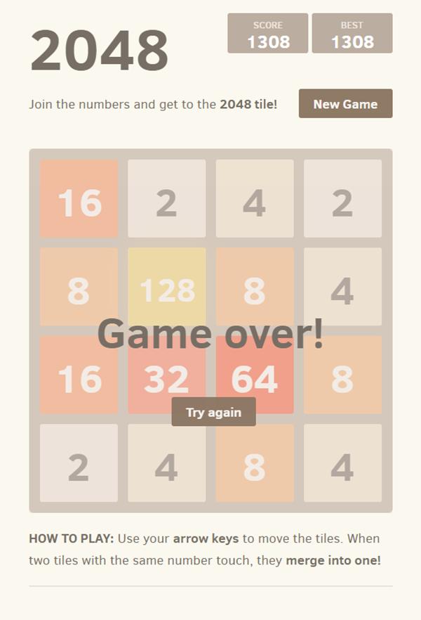 2048 Game Over Screenshot.