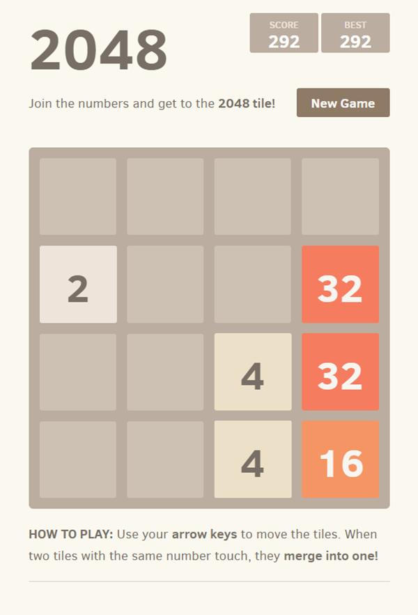2048 Game Play Screenshot.