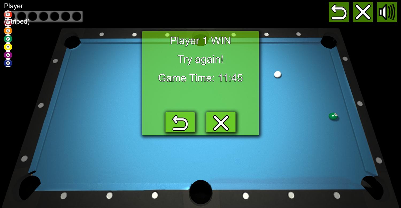 3D Pool Game Won Screenshot.