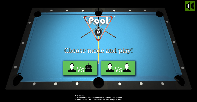 3D Pool Game Welcome Screenshot.