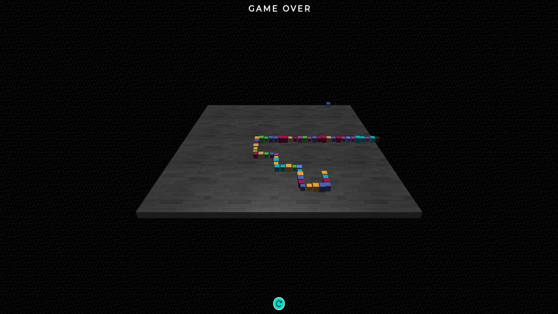3D Super Snake Game Over Screenshot.