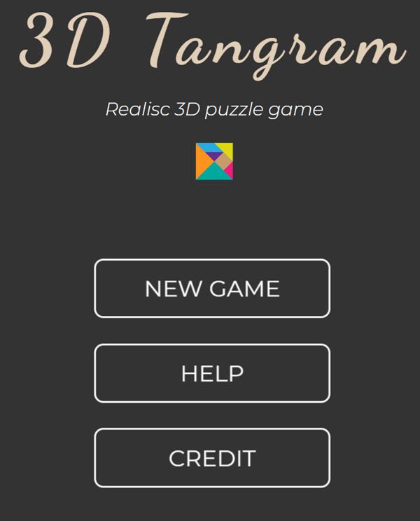 3D Tangram Puzzles Welcome Screen Screenshot.