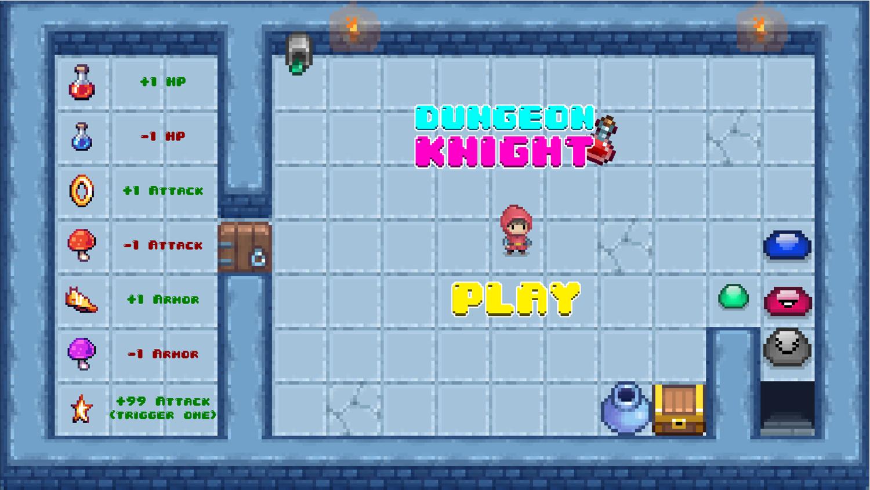 Dungeon Knight Welcome Screen Screenshot.
