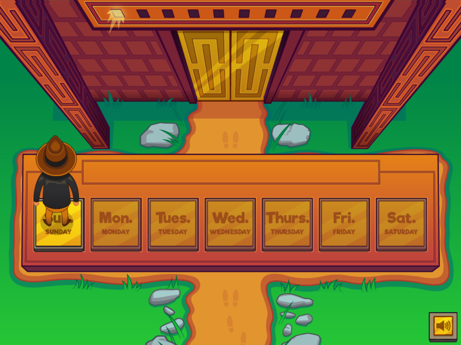 Adventure Man and the Days of the Week Game Answering Question Screenshot.