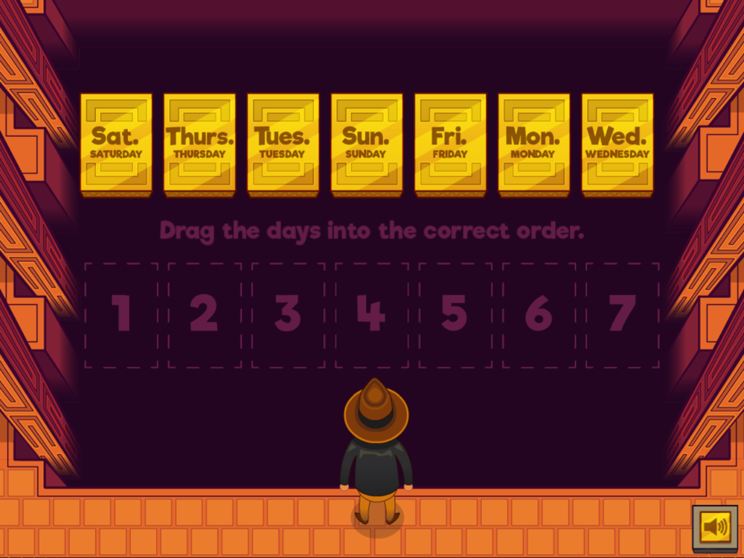 Adventure Man and the Days of the Week Game Arranging Days Start Screenshot.
