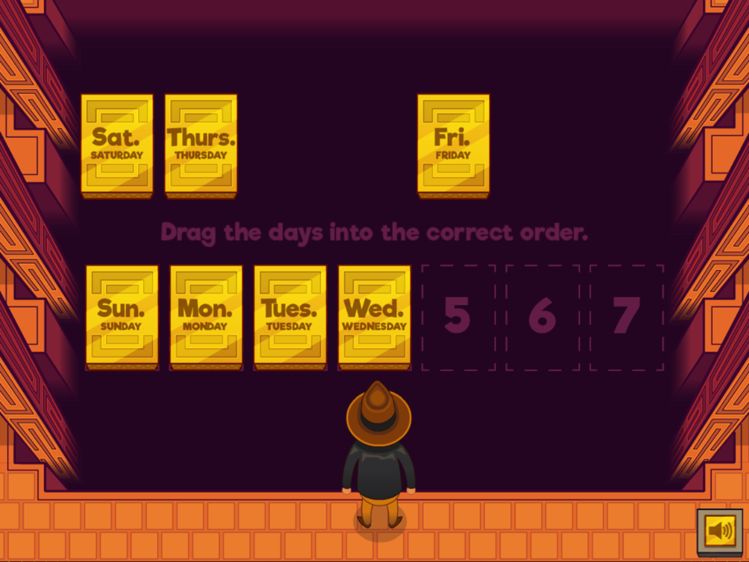Adventure Man and the Days of the Week Game Arranging Days Screenshot.