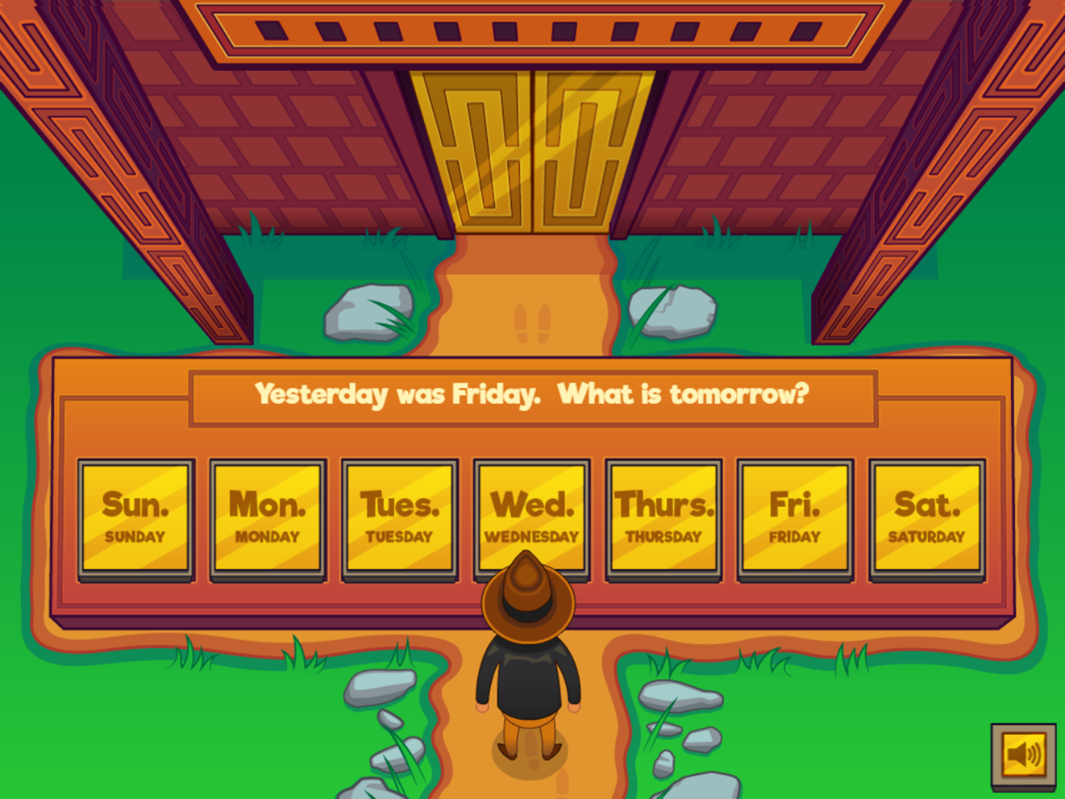 Adventure Man and the Days of the Week Game First Question Screenshot.