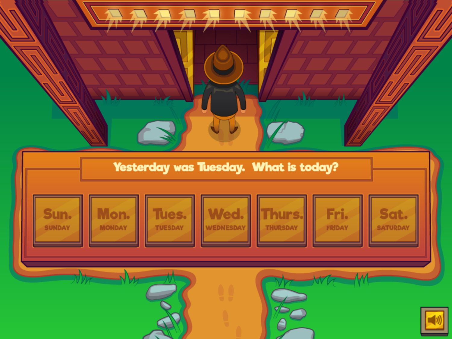 Adventure Man and the Days of the Week Game First Stage Complete Screenshot.