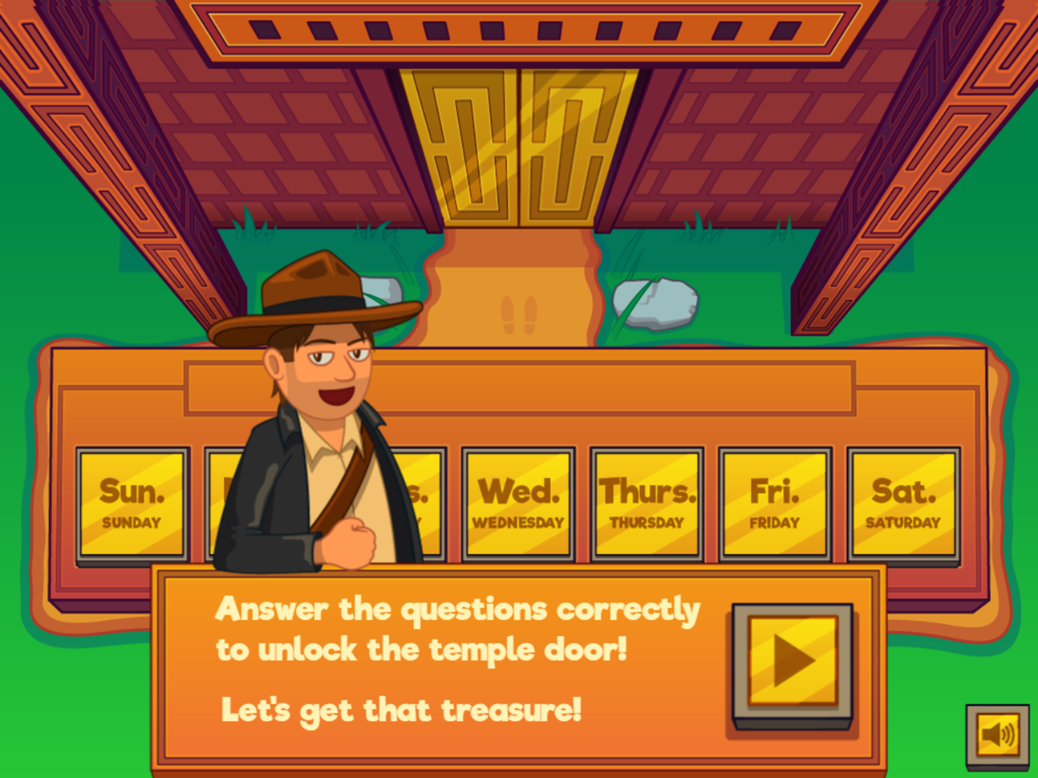 Adventure Man and the Days of the Week Game Question Start Screenshot.