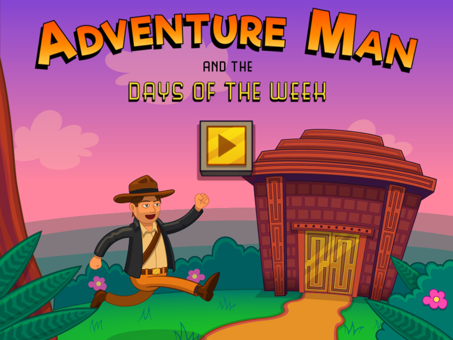 Adventure Man and the Days of the Week Game Welcome Screen Screenshot.