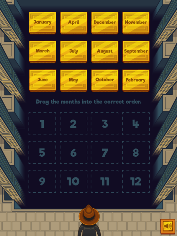 Adventure Man and the Months of the Year Game Organizing Months Screenshot.