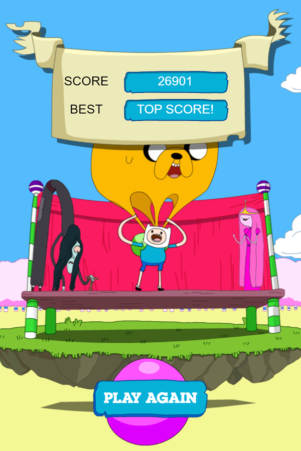 Adventure Time Candy Dive Game Over Screenshot.