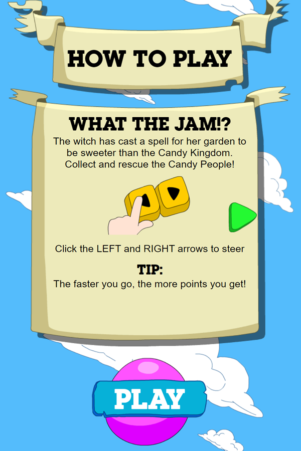 Adventure Time Candy Dive Game Left Right Move Instructions Screenshot.