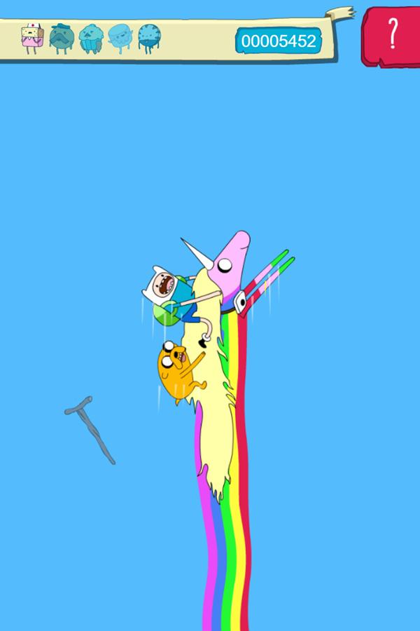 Adventure Time Candy Dive Game Rainicorn Lift Screenshot.
