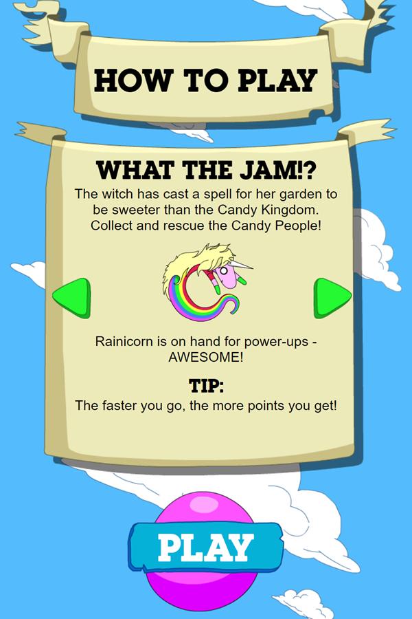 Adventure Time Candy Dive Game Rainicorn Instructions Screenshot.