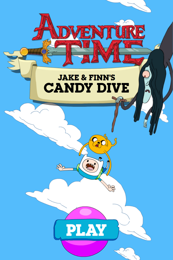 Adventure Time Candy Dive Game Welcome Screen Screenshot.