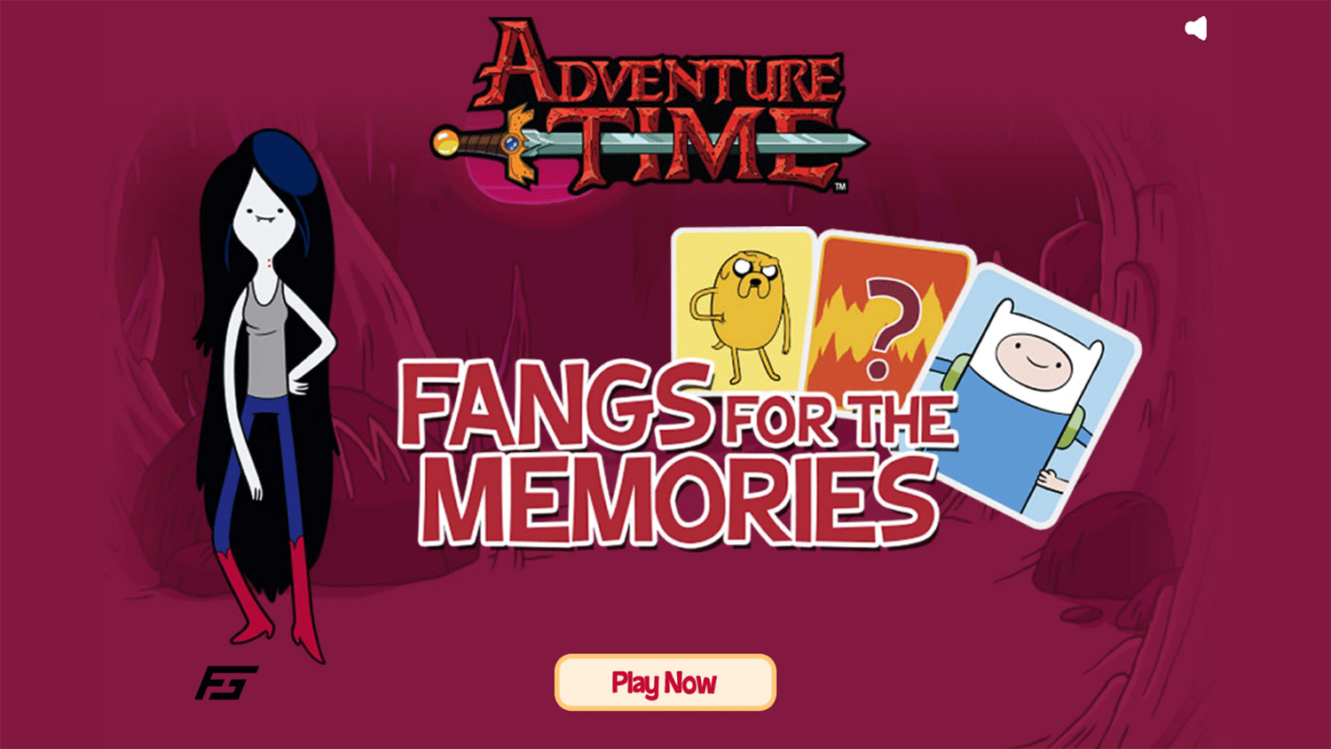 Adventure Time Fangs for the Memories Game Welcome Screen Screenshot.