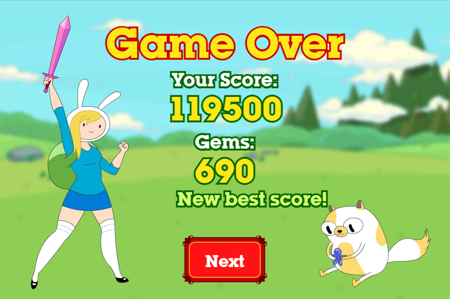 Adventure Time Fiona Fights Game Over Screenshot.