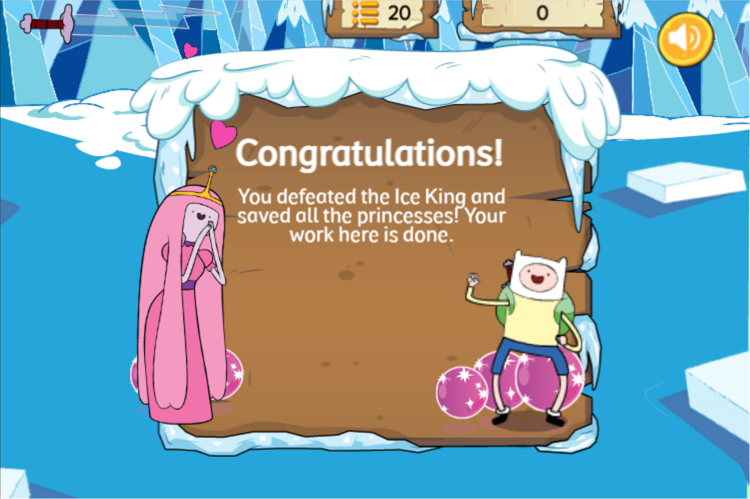 Adventure Time Frosty Fight Game Beat Screenshot.