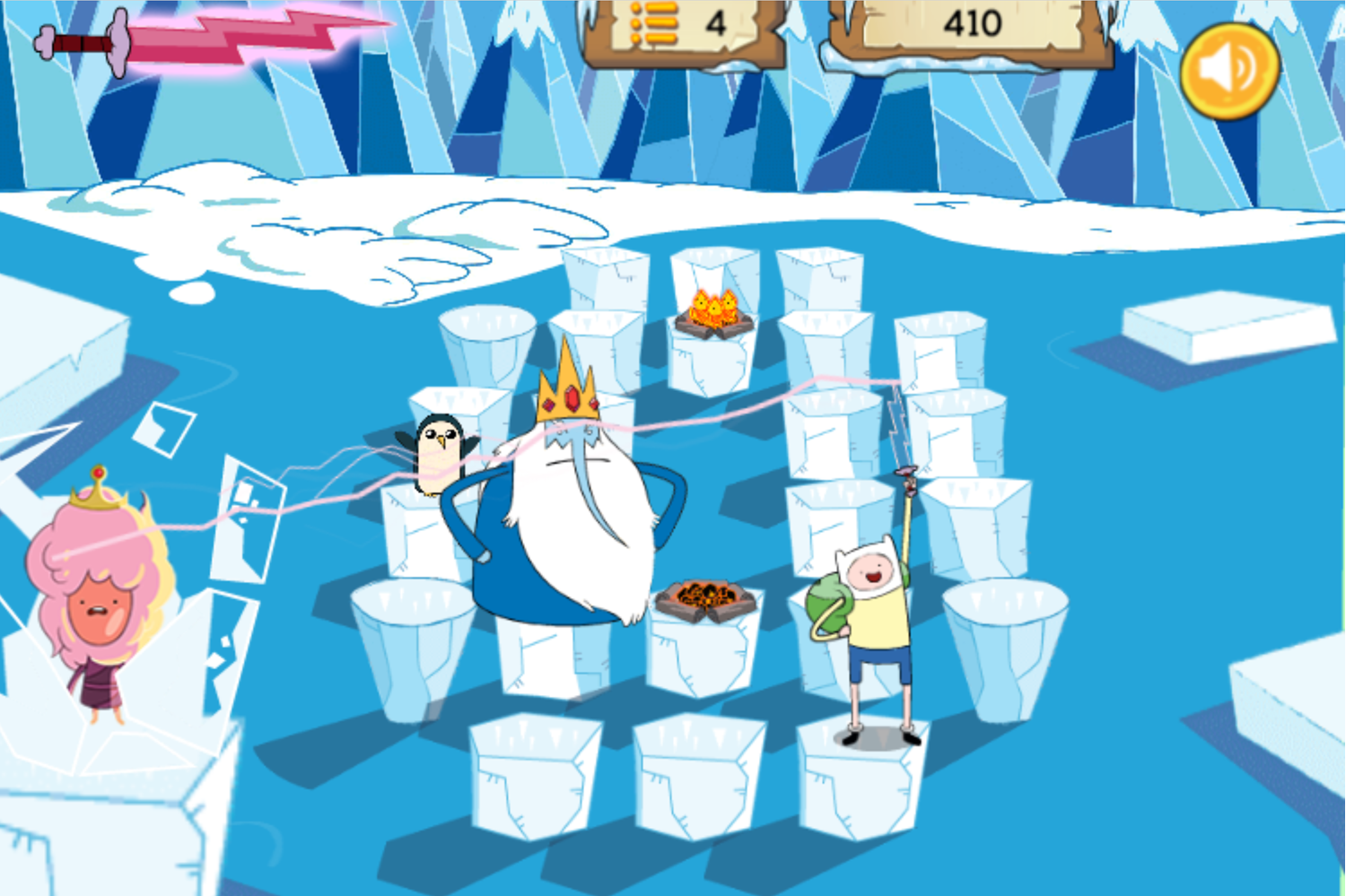 Adventure Time Frosty Fight Game Screenshot.
