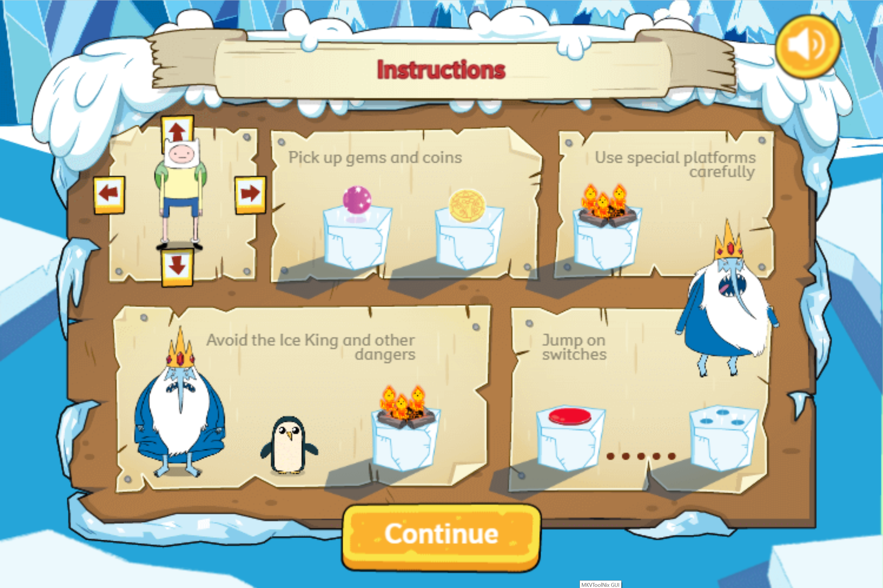 Adventure Time Frosty Fight Game Instructions Screenshot.