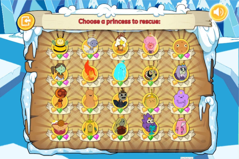 Adventure Time Frosty Fight Level Select Unlocked Screenshot.