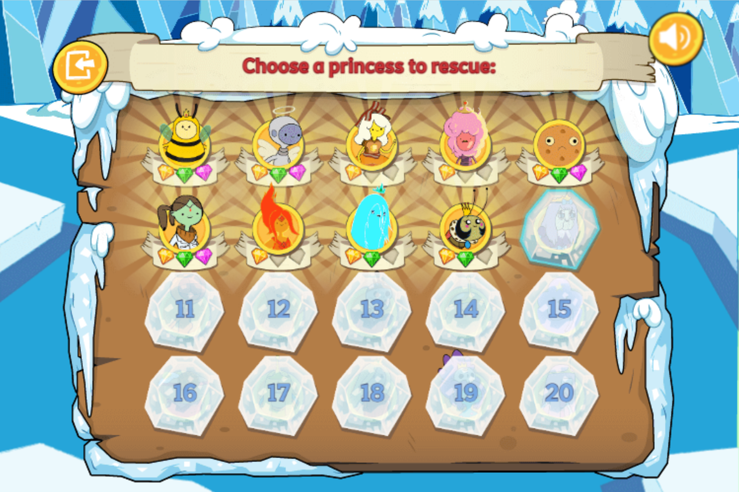 Adventure Time Frosty Fight Level Select Screenshot.