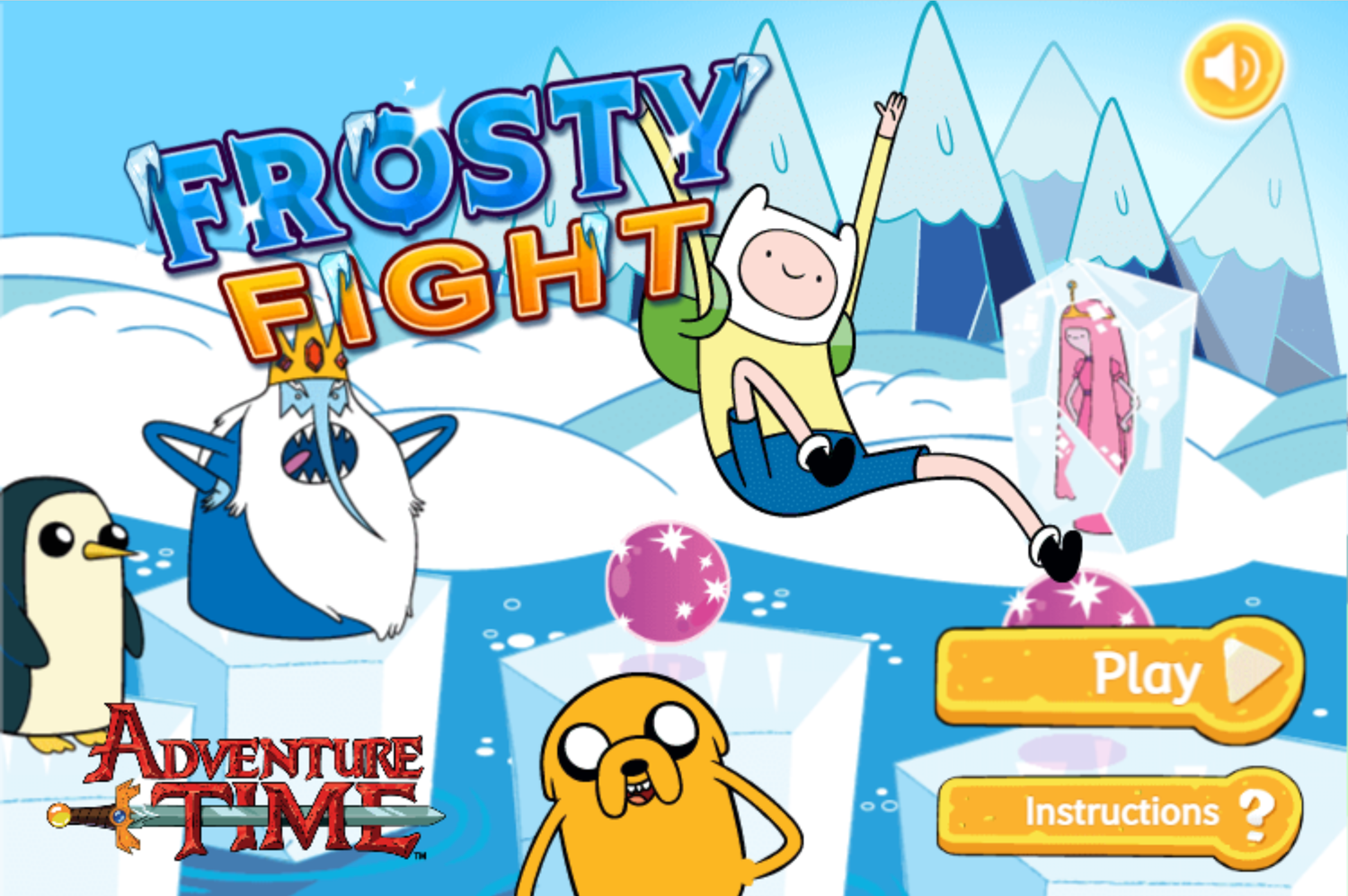 Adventure Time Frosty Fight Welcome Screen Screenshot.