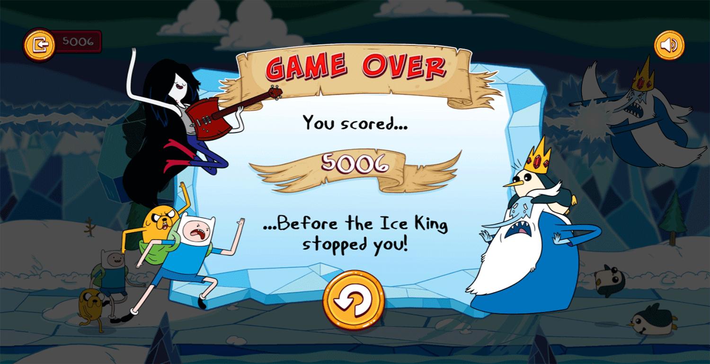 Adventure Time Mareceline's Ice Blast Game Over Screenshot.