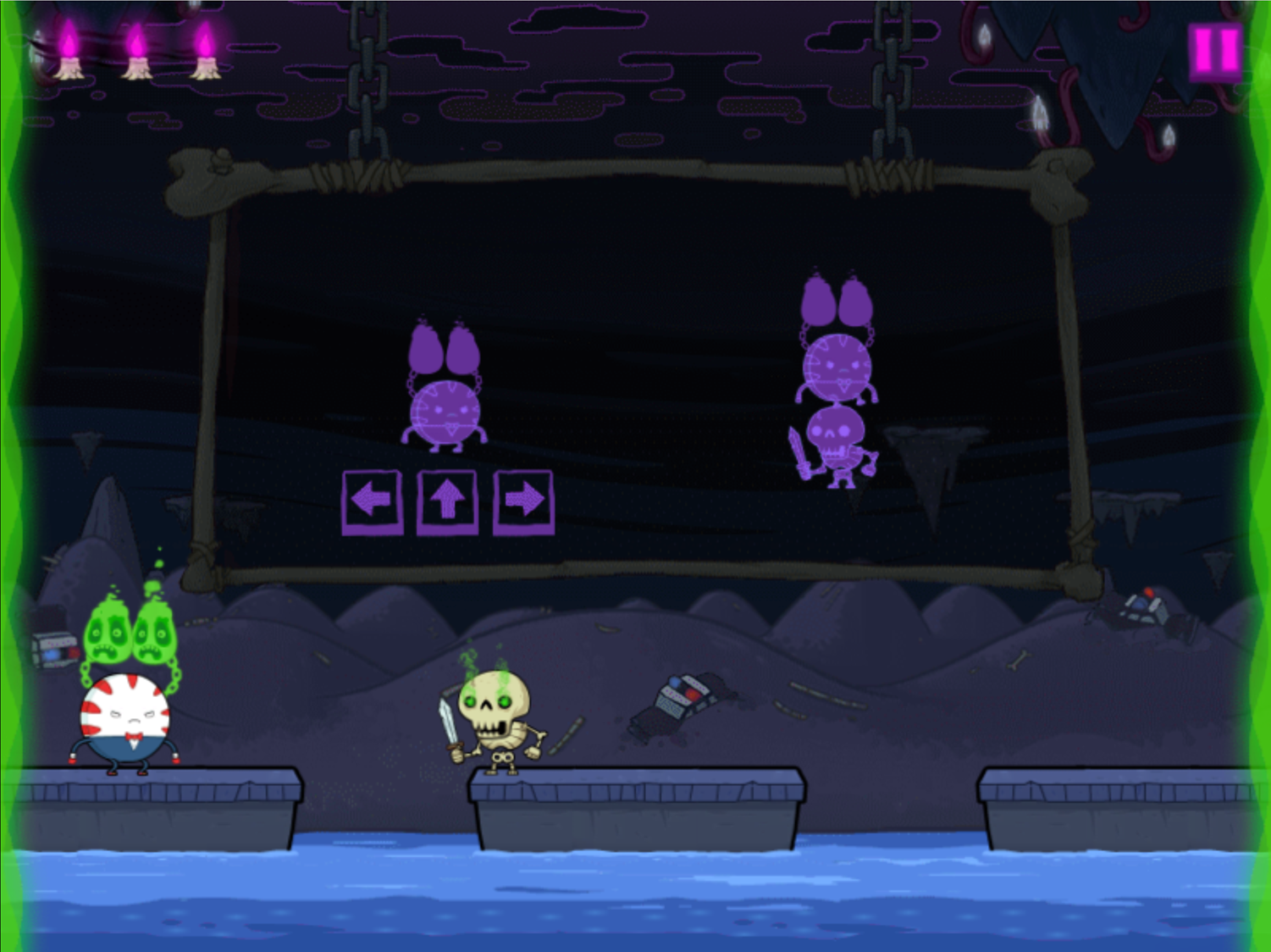 Adventure Time Rumble in the Nightosphere Game One Player Controls Screenshot.