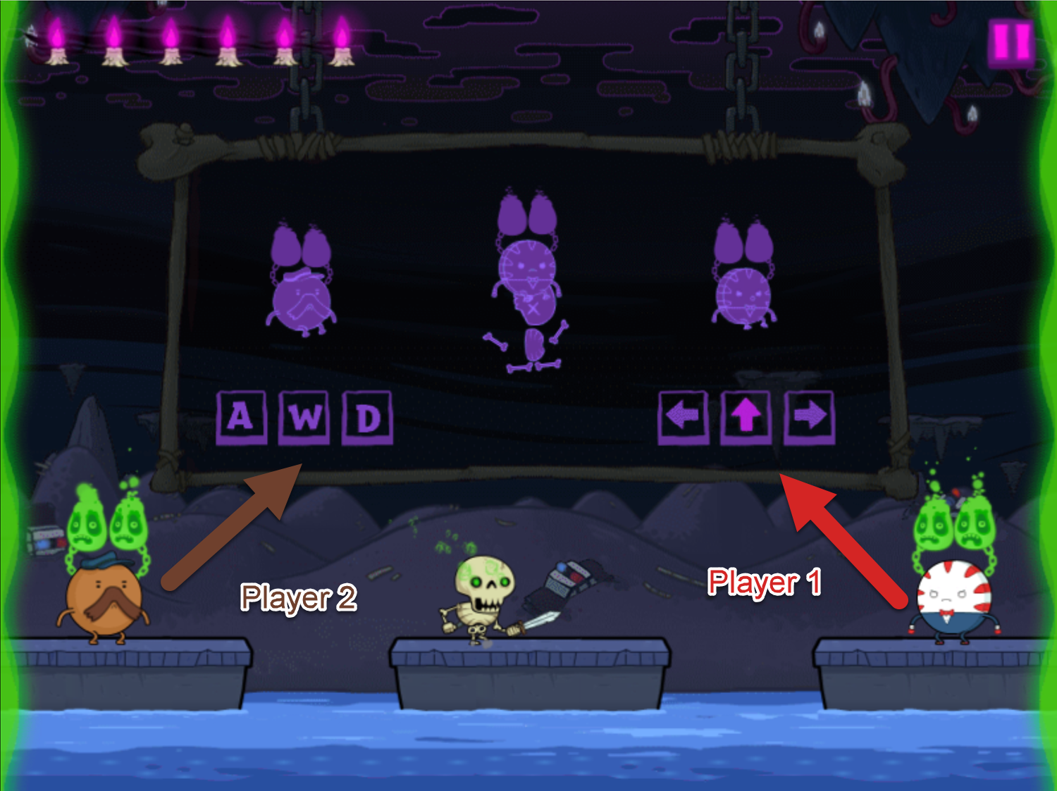 Adventure Time Rumble in the Nightosphere Game Two Player Controls Screenshot.