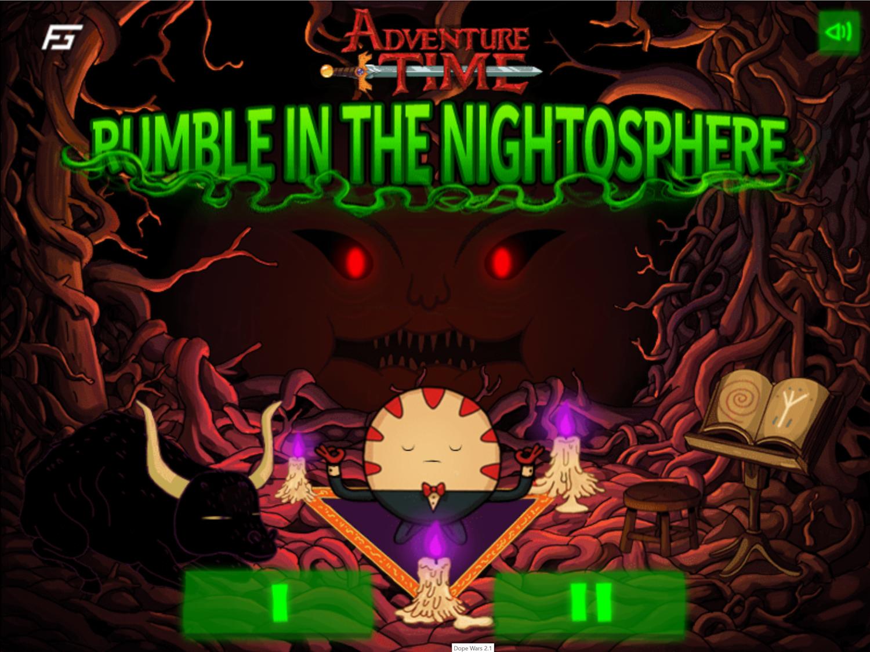 Adventure Time Rumble in the Nightosphere Game Welcome Screen Screenshot.