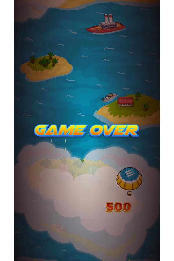 Air Warfare Game Over Score Screenshot.