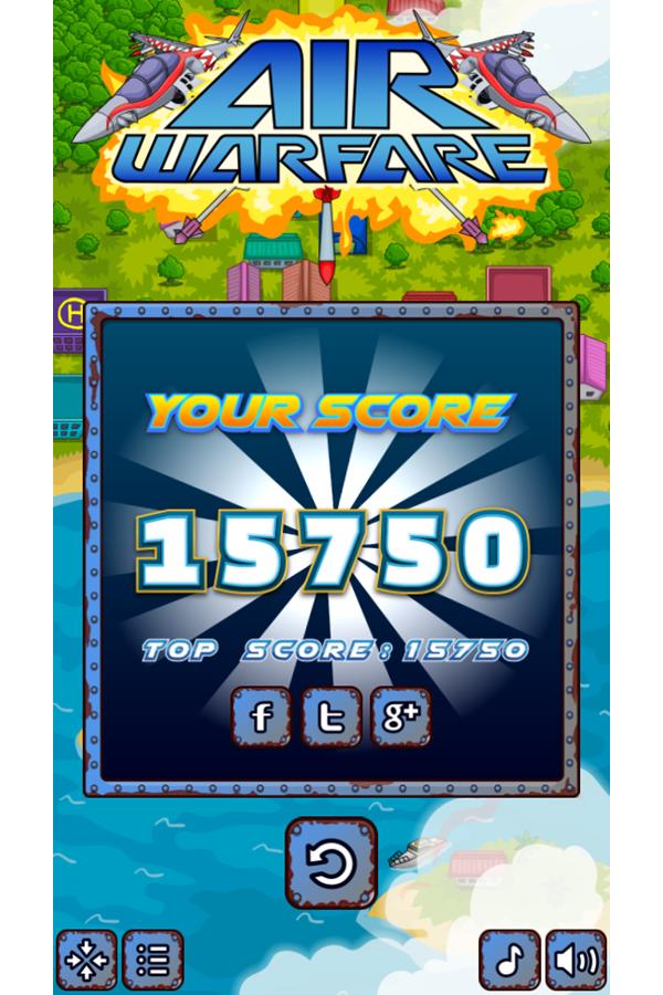 Air Warfare Game Score Screenshot.