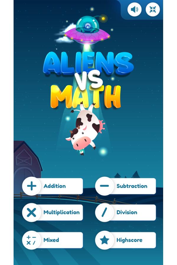 Aliens Vs Math Welcome Screen Screenshot.