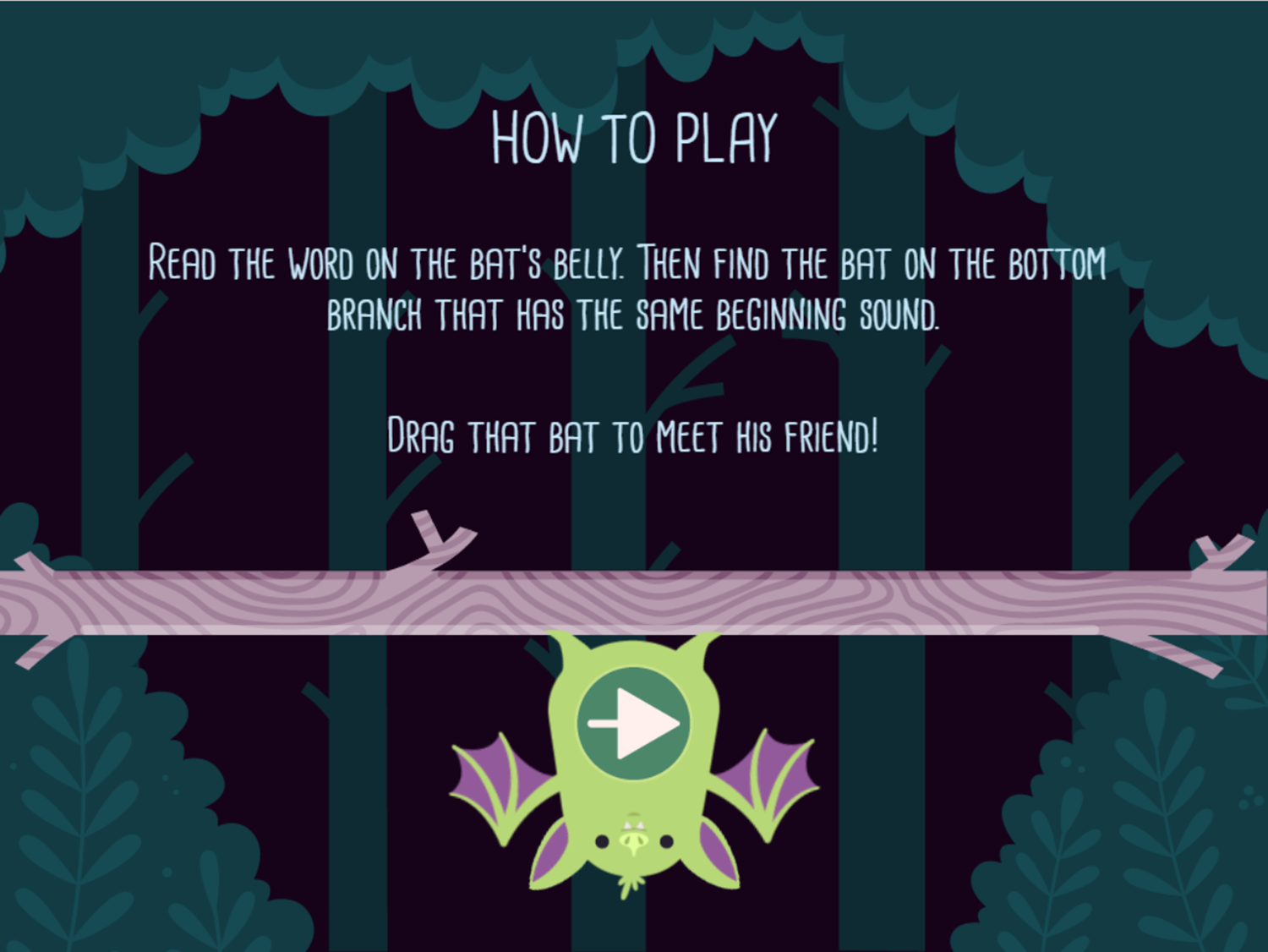 Alphabats Alliteration Game How To Play Screenshot.
