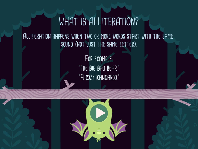 Alphabats Alliteration Game Instruction Screenshot.