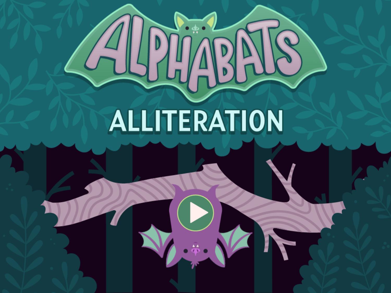 Alphabats Alliteration Game Welcome Screen Screenshot.