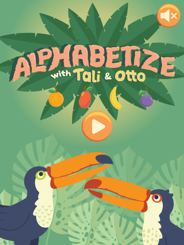 Alphabetize With Tali and Otto Game Welcome Screen Screenshot.