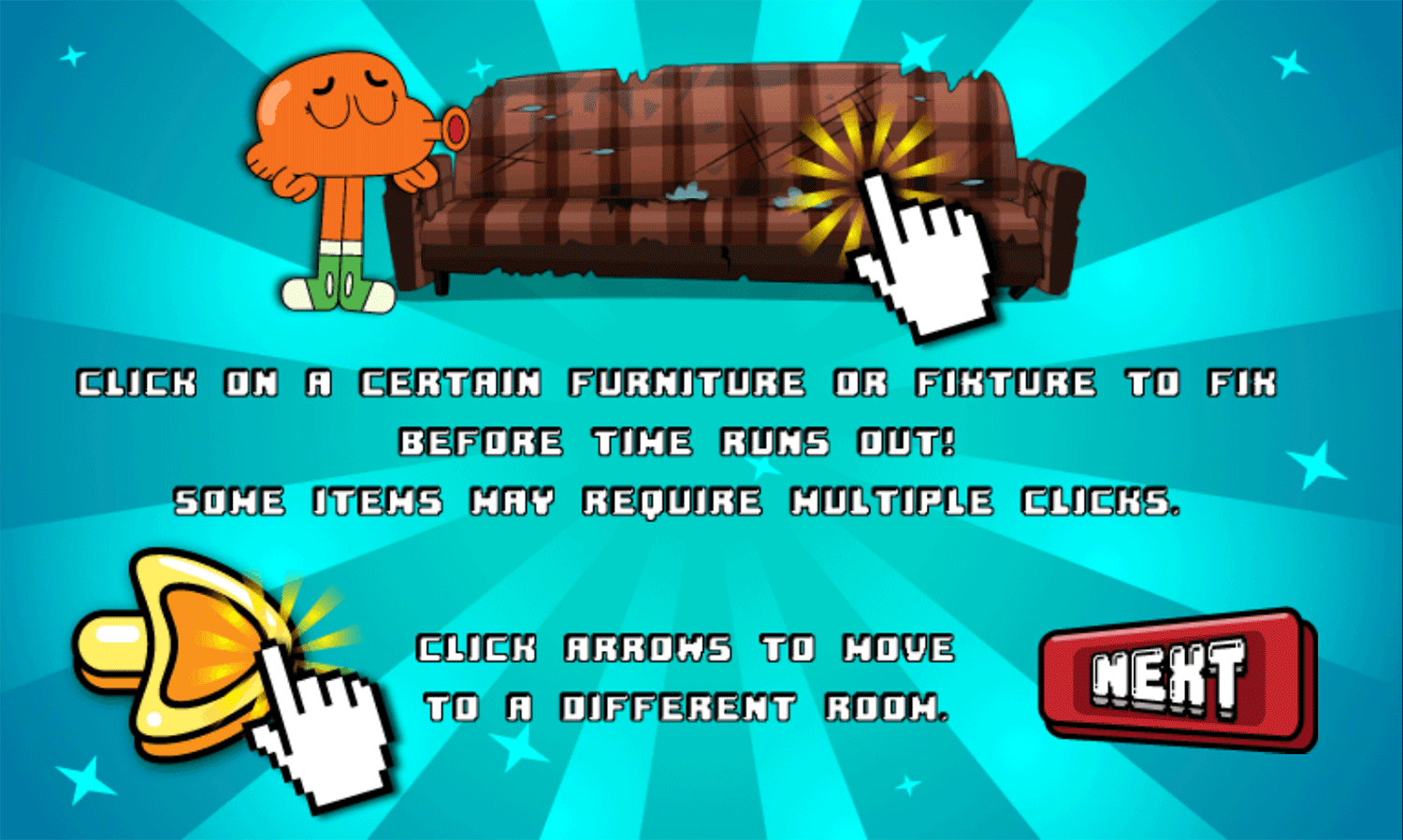 Amazing World of Gumball Tidy Up Game How To Play Screenshot.