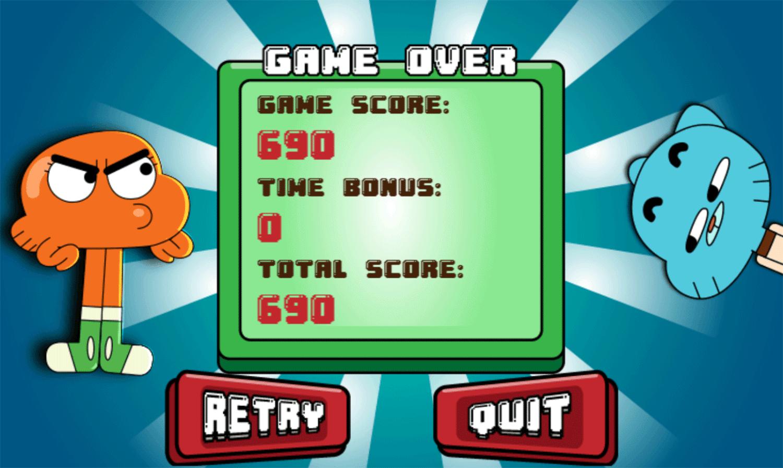 Amazing World of Gumball Tidy Up Game Score Screenshot.
