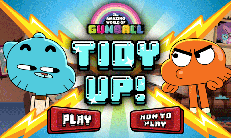 Amazing World of Gumball Tidy Up Game Welcome Screen Screenshot.