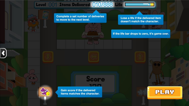 Amazing World of Gumball Watterson Express Game Instructions Screen Screenshot.