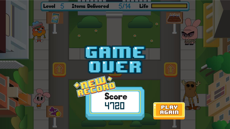 Amazing World of Gumball Watterson Express Game Over Screen Screenshot.