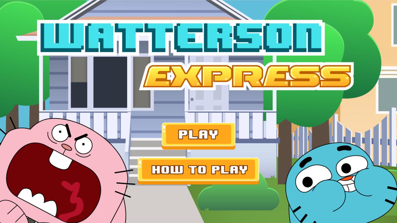 Amazing World of Gumball Watterson Express Game Welcome Screen Screenshot.