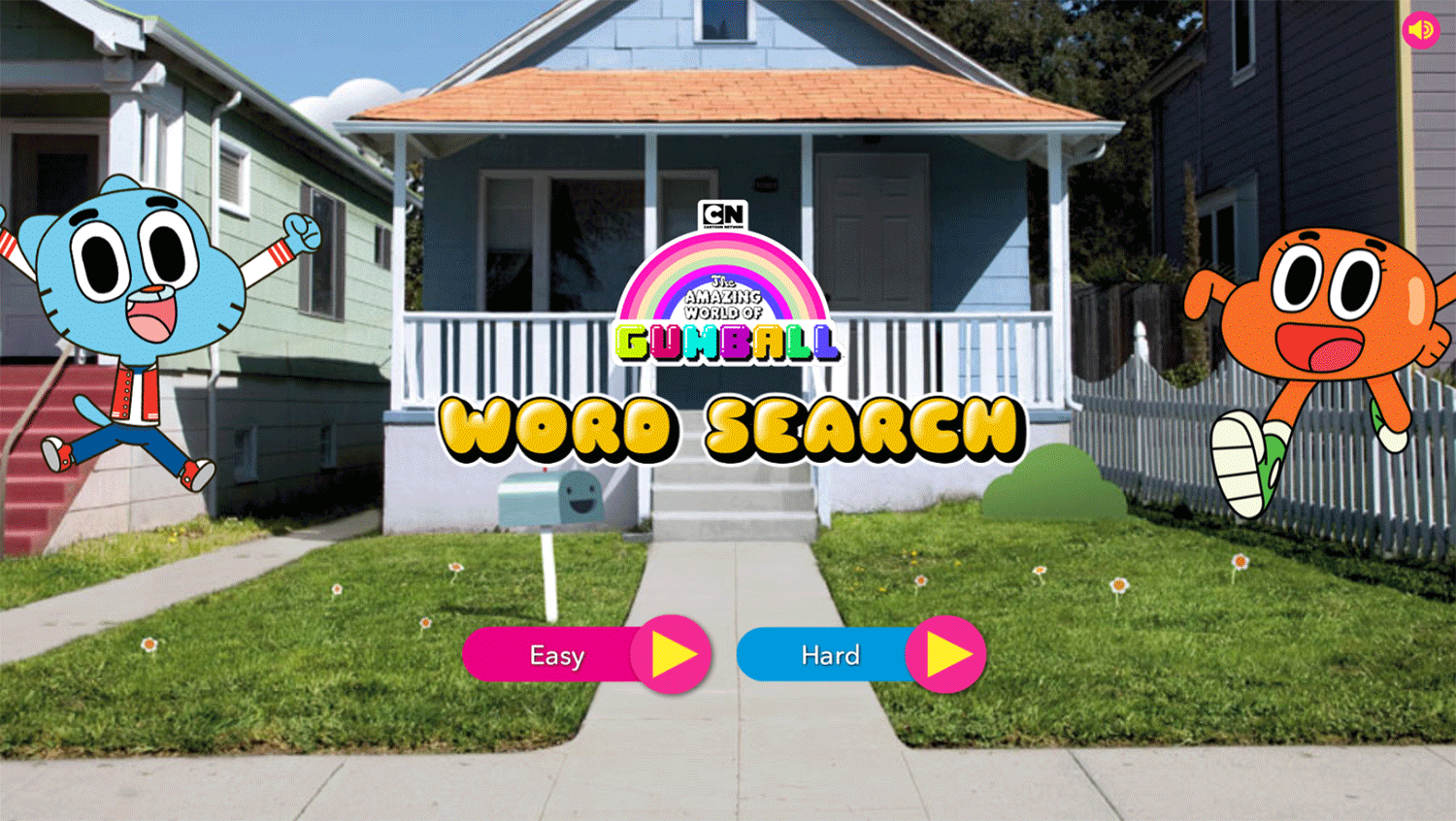 Amazing World of Gumball Word Search Game Welcome Screen Screenshot.