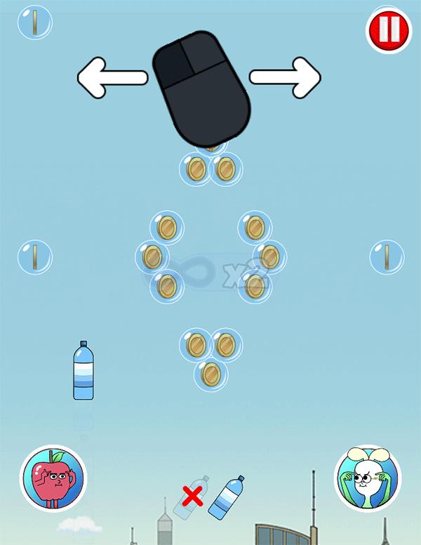 Apple & Onion Bottle Catch Game Instructions Screenshot.