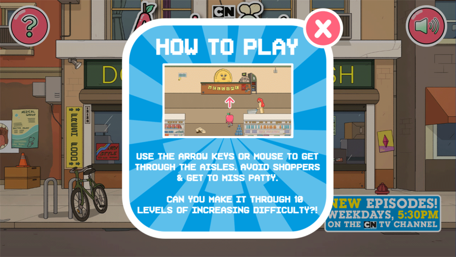 Apple & Onion Dollar Store Dash Game How To Play Screenshot.